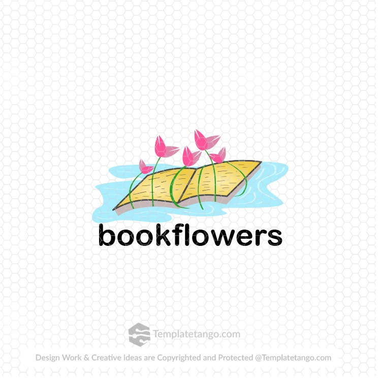 book-flower-pond-logo-design