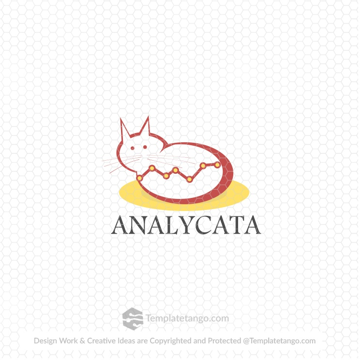 analytics-graph-cat-animal-pet-digital-logo-design