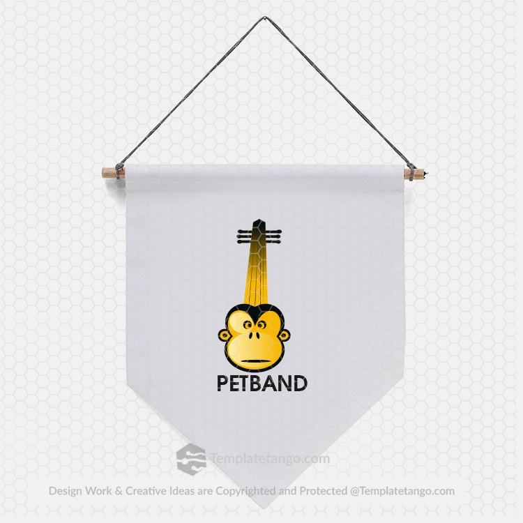 pet-care-music-animal-monkey-logo-design